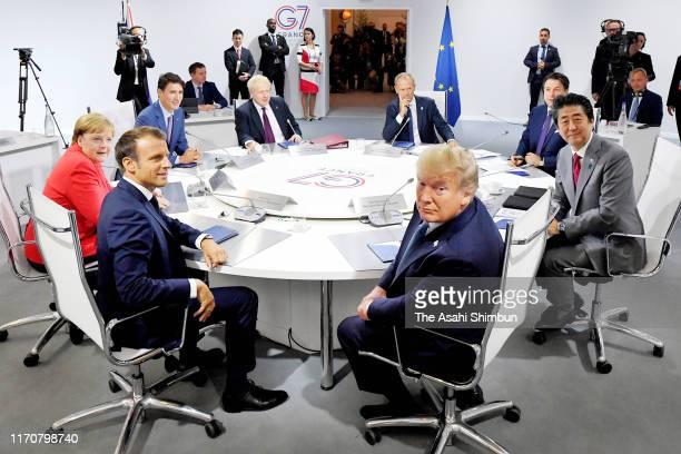 Canada's Prime Minister Justin Trudeau, Britain's Prime Minister Boris Johnson, Germany's Chancellor Angela Merkel, European Council President Donald...