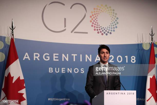 Canada's Prime Minister Justin Trudeau delivers a press conference on the second day of the G20 Leader's Summit in Buenos Aires on December 01 2018...