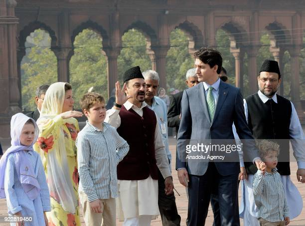 Canada's Prime Minister Justin Trudeau his wife Sophie Gregoire Trudeau their daughter EllaGrace Xavier and Hadrien visit the Jama Masjid one of the...