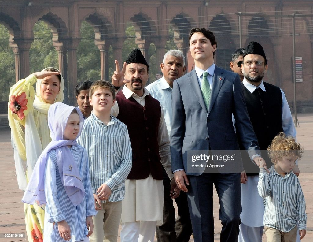 Canada's Prime Minister Justin Trudeau (C-R), his wife Sophie Gregoire Trudeau (rear L), their daughter Ella-Grace (L), Xavier (3 L) and Hadrien (front R) visit the Jama Masjid, one of the largest mosques in New Delhi during an official visit on February 22, 2018 in New Delhi, India.