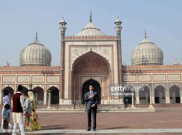Canada's Prime Minister Justin Trudeau poses for a photo in front of the Jama Masjid one of the largest mosques in New Delhi during an official visit...