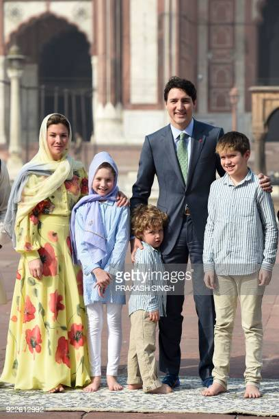 Canada's Prime Minister Justin Trudeau poses with his wife Sophie Gregoire Trudeau daughter EllaGrace son Xavier and son Hadrien during a visit to...