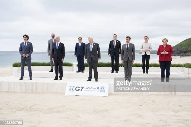 Canada's Prime Minister Justin Trudeau, President of the European Council Charles Michel, US President Joe Biden, Japan's Prime Minister Yoshihide...