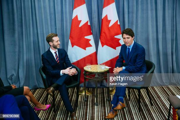 Canada's Prime Minister Justin Trudeau right meets with AppNexus President Michael Rubinstein on May 16 2018 in New York City