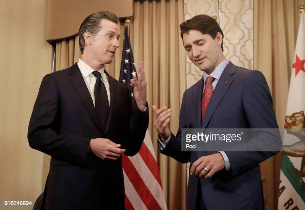 Canada's Prime Minister Justin Trudeau right meets with California Lieutenant Governor Gavin Newsom on February 9 2018 in San Francisco California...