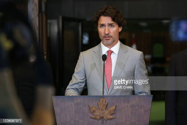 Canada's Prime Minister Justin Trudeau speaks during a news conference on Parliament Hill August 18, 2020 in Ottawa, Canada. - Prime Minister Justin...