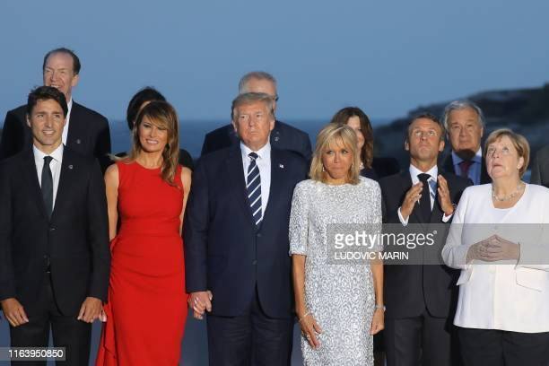 Canada's Prime Minister Justin Trudeau US First Lady Melania Trump US President Donald Trump French President's wife Brigitte Macron France's...