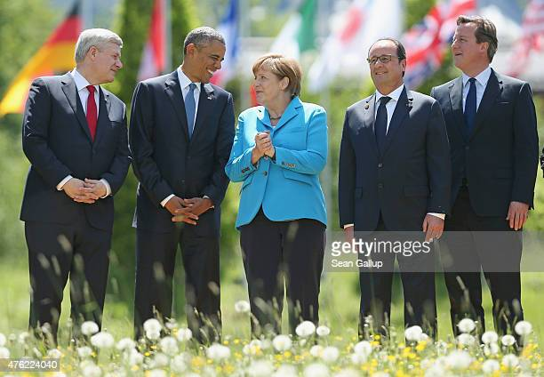 Canada's Prime Minister Stephen Harper US President Barack Obama German Chancellor Angela Merkel French President Francois Hollande and British Prime...