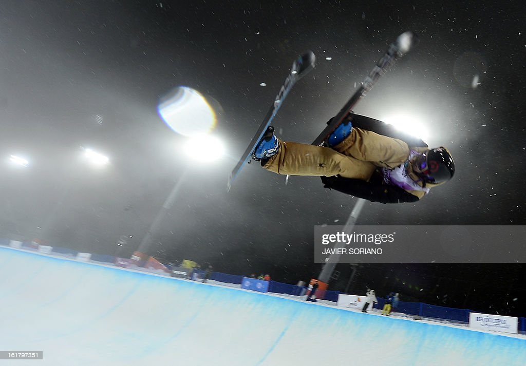 Canada's Rosalind Groenewoud competes during Ladies' FreeStyle Halfpipe final race at the Snowboarding and Free Style World Cup Test Event at the Snowboard and Free Style Centre in Rosa Khutor near the Russian Black Sea resort of Sochi on February 16, 2013. Swiss Virginie Faivre won the race ahead of Canadian Rosalind Groenewoud and Canadian Keltie Hansen.