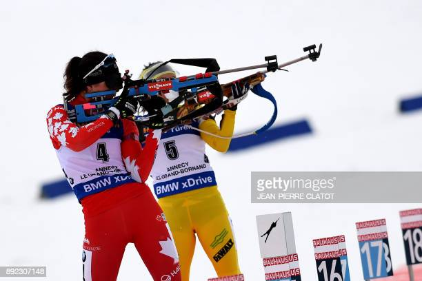 Canada's Rosanna Crawford and Sweden's Linn Persson compete during the women's 7,5 km sprint event at the IBU World Cup Biathlon in Le Grand Bornand...