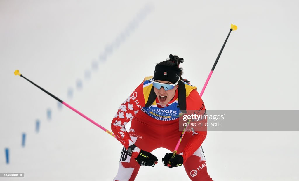 Canada's Rosanna Crawford arrives in the finishing area during the women's 15 km individual event at the Biathlon World Cup on January 11, 2018 in Ruhpolding, southern Germany. Italy's Dorothea Wierer won the event ahead of Finland's Kaisa Makarainen (2nd) and Canada's Rosanna Crawford (3rd). /