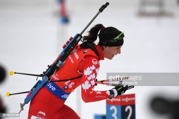 Canada's Rosanna Crawford competes during the women's 125 kilometer mass start competition at the Biathlon World Cup on January 14 2018 in Ruhpolding...