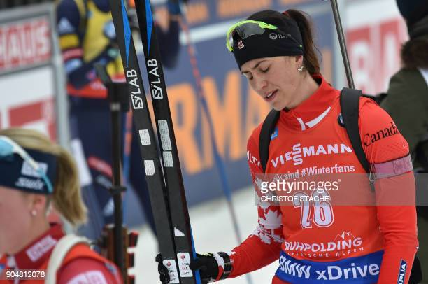 Canada's Rosanna Crawford reacts after the women 125 kilometer mass start competition of the Biathlon World Cup on January 14 2018 in Ruhpolding...