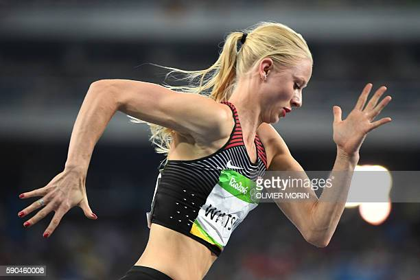Canada's Sage Watson competes in the Women's 400m Hurdles Semifinal during the athletics event at the Rio 2016 Olympic Games at the Olympic Stadium...
