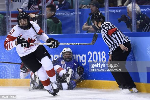 Canada's Sarah Nurse skates past USA's Kendall Coyne in the women's gold medal ice hockey match between Canada and the US during the Pyeongchang 2018...