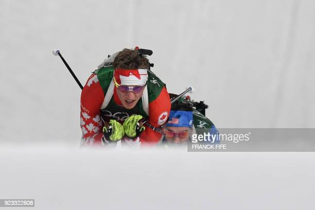 Canada's Scott Gow and US Sean Doherty compete in the men's 4x75km biathlon relay event during the Pyeongchang 2018 Winter Olympic Games on February...