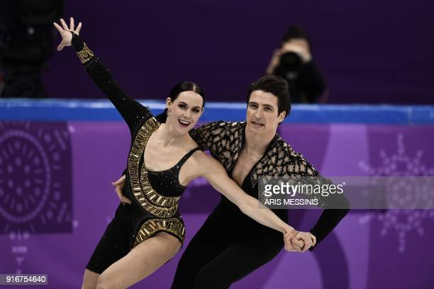 TOPSHOT Canada's Scott Moir and Canada's Tessa Virtue compete in the figure skating team event ice dance short dance during the Pyeongchang 2018...