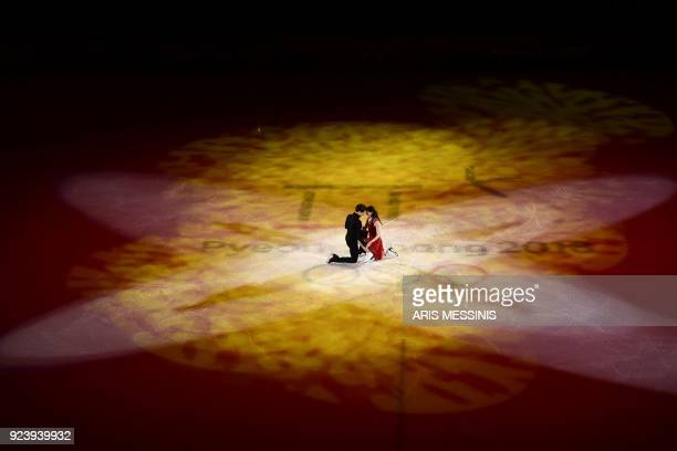 TOPSHOT Canada's Scott Moir and Canada's Tessa Virtue perform during the figure skating gala event during the Pyeongchang 2018 Winter Olympic Games...