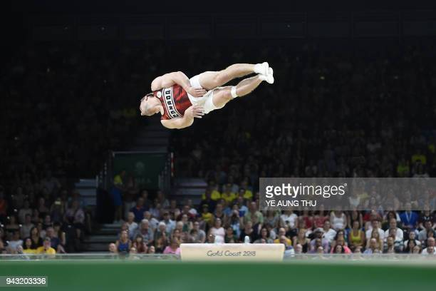 Canada's Scott Morgan competes in the men's floor exercise final artistic gymnastics event during the 2018 Gold Coast Commonwealth Games at the...