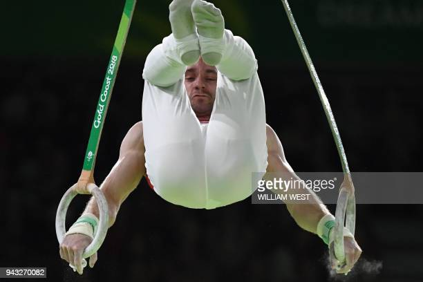 TOPSHOT Canada's Scott Morgan competes in the men's rings final artistic gymnastics event during the 2018 Gold Coast Commonwealth Games at the...