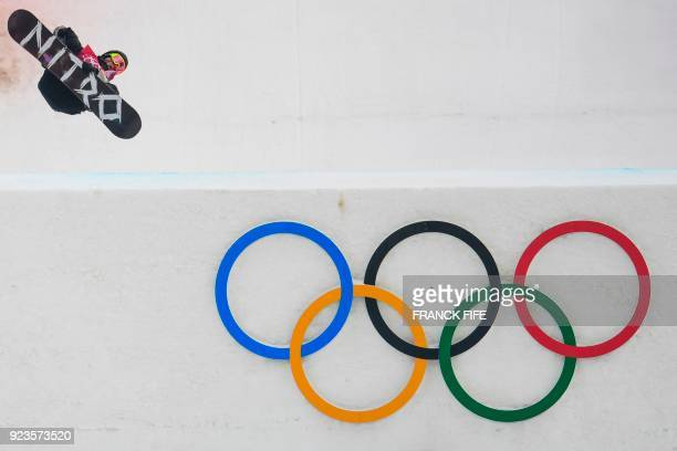 TOPSHOT Canada's Sebastien Toutant competes during run 3 of the final of the men's snowboard big air event at the Alpensia Ski Jumping Centre during...