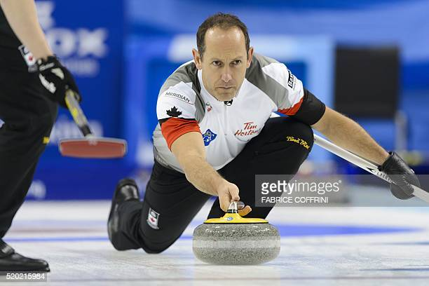 Canada's second Brent Laing delivers a stone during the gold medal game Canada vs Denmark at the World Men's Curling Championships on April 10 2016...