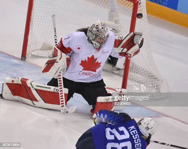 Canada's Shannon Szabados blocks a shot by USA's Amanda Kessel in the women's gold medal ice hockey match between Canada and the US during the...