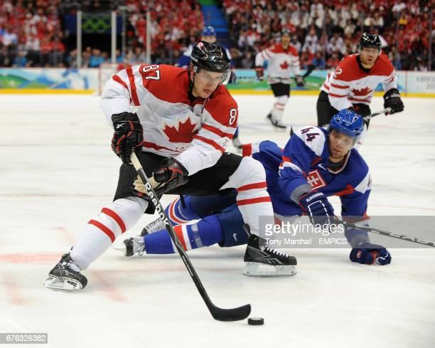 Canada's Sidney Crosby and Slovakia's Andrej Sekera