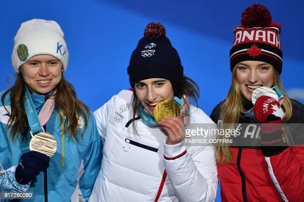 Canada's silver medallist Justine DufourLapointe France's gold medallist Perrine Laffont and Kazakhstan's bronze medallist Yulia Galysheva pose on...