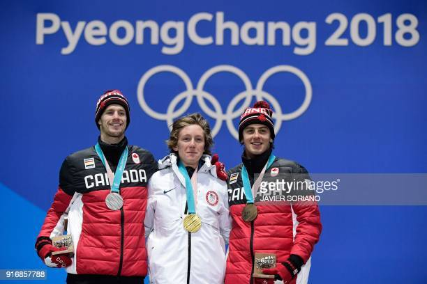 Canada's silver medallist Max Parrot USA's gold medallist Redmond Gerard and Canada's bronze medallist Mark McMorris pose on the podium during the...