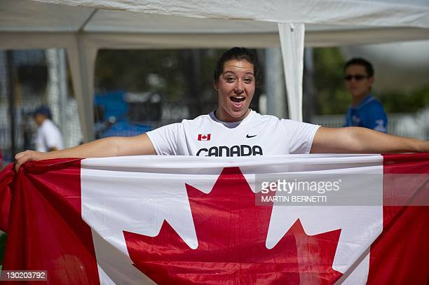 Canada's Sultana Frizell celebrates after getting the silver medal in the women's Hammer Throw during the Guadalajara 2011 XVI Pan American Games in...