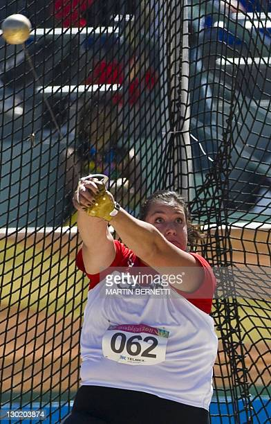 Canada's Sultana Frizell performs in the women's Hammer Throw during the Guadalajara 2011 XVI Pan American Games in Guadalajara Mexico on October 24...