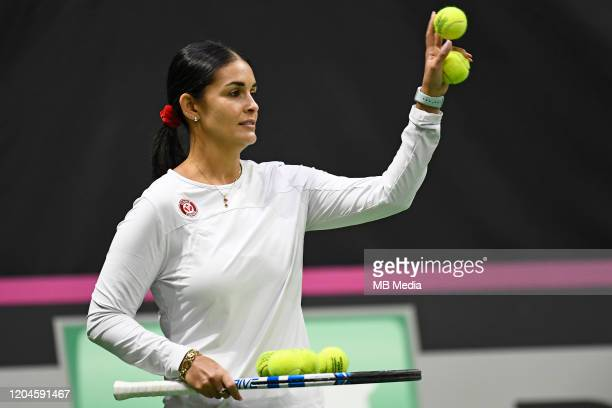 Canada's Team Captain Captain Heidi El Tabakh in action during a pratice session prior to the Fed Cup match between Switzerland and Canada on...
