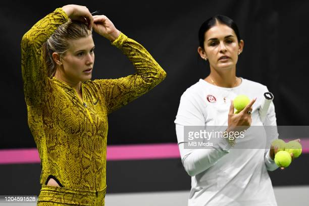 Canada's Team Captain Captain Heidi El Tabakh together with Eugene Bouchard during a pratice session prior to the Fed Cup match between Switzerland...
