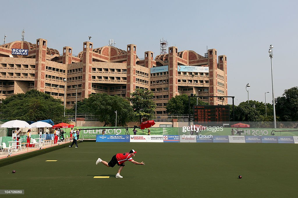 Canada's team captain Steve McKerihen in action in the mens triples section against Namibia at JN Sports Complex during day one of the Delhi 2010 Commonwealth Games on October 4, 2010 in Delhi, India.