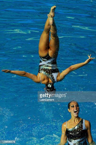 Canada's team in action during the team free routine of the synchronized swimming competition as part of the Pan American Games Guadalajara 2011 at...