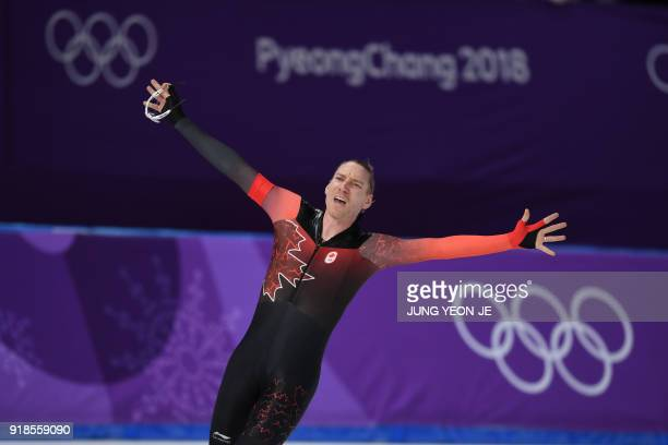 Canada's Ted-Jan Bloemen celebrates his win in the men's 10,000m speed skating event during the Pyeongchang 2018 Winter Olympic Games at the...