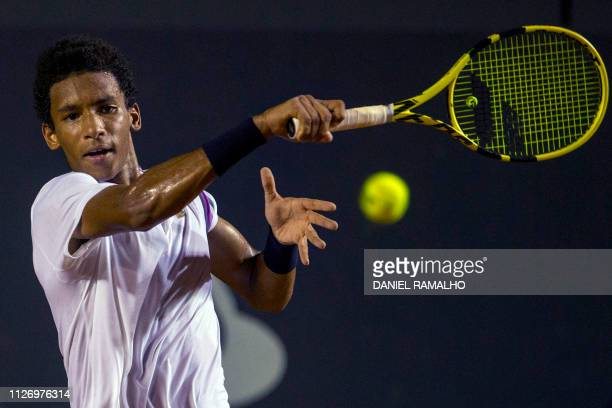 Canada's tennis player Felix Auger-Aliassime returns the ball to Uruguay's Pablo Cuevas during their ATP World Tour Rio Open singles semi-final match...