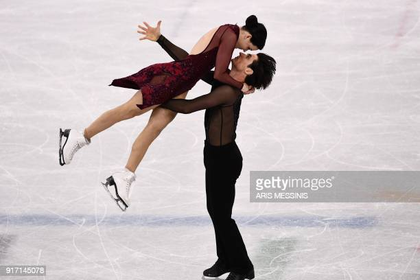 Canada's Tessa Virtue and Canada's Scott Moir compete in the figure skating team event ice dance free dance during the Pyeongchang 2018 Winter...