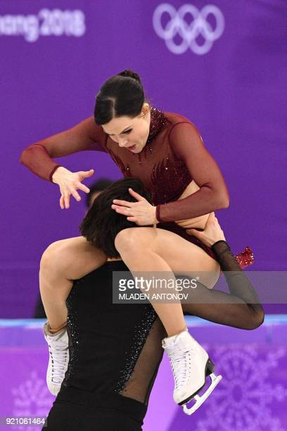 Canada's Tessa Virtue and Canada's Scott Moir compete in the ice dance free dance of the figure skating event during the Pyeongchang 2018 Winter...