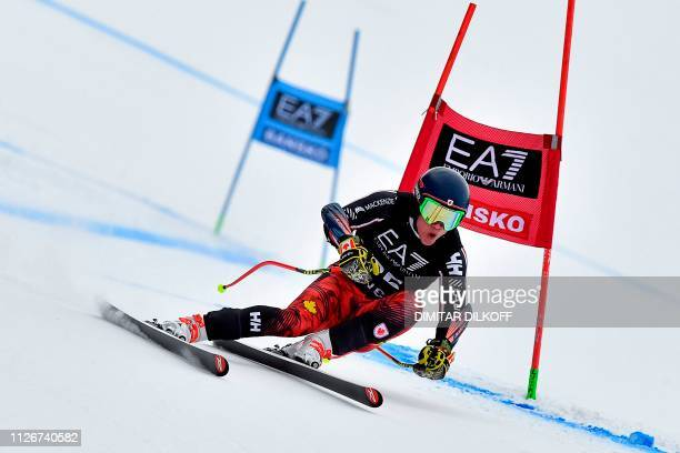 Canada's Trevor Philp competes during the men's SuperG combined event of the FIS Alpine Ski World Cup in Bansko on February 22 2019