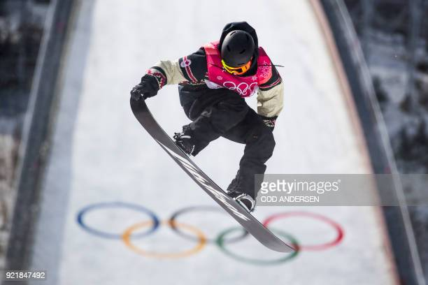 TOPSHOT Canada's Tyler Nicholson competes during the qualification of the men's snowboard big air event at the Alpensia Ski Jumping Centre during the...
