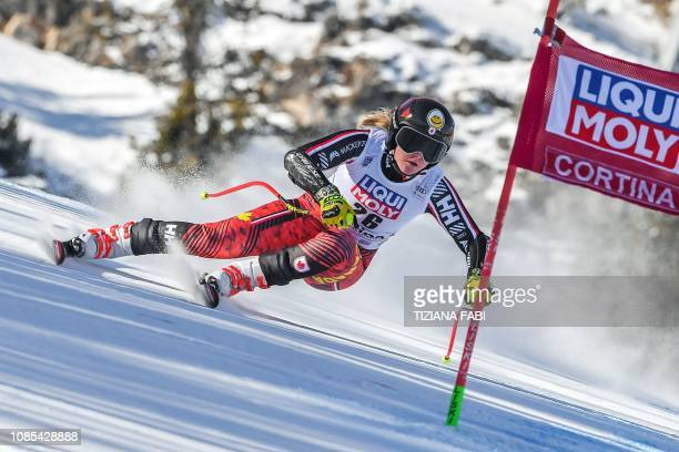 Canada's Valerie Grenier competes in the Women's Super G event of the FIS Alpine skiing World Cup in Cortina d'Ampezzo, Italian Alps, on January 20,...