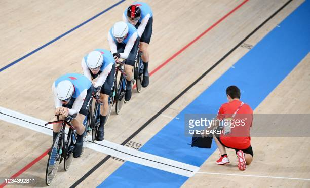 Canada's Vincent De Haitre, Canada's Michael Foley, Canada's Derek Gee and Canada's Jay Lamoureux compete in the men's track cycling team pursuit...