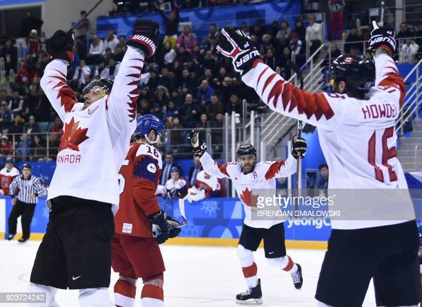 Canada's Wojciech Wolski celebrates a goal in the men's bronze medal ice hockey match between the Czech Republic and Canada during the Pyeongchang...