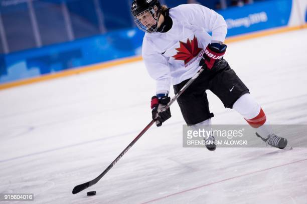 Canada's women's ice hockey team player Jennifer Wakefield practices at the Kwandong Hockey Centre ahead of the Pyeongchang 2018 Winter Olympic Games...