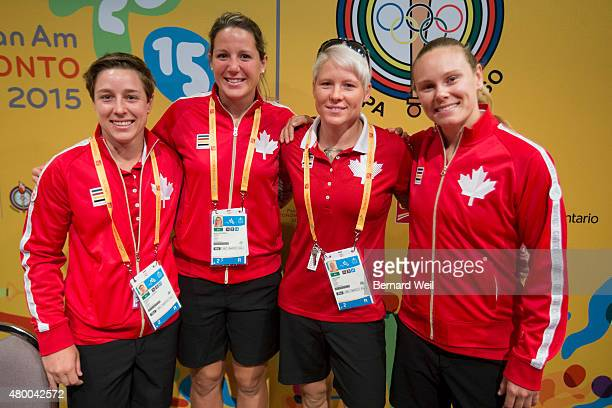 TORONTO ON JULY 9 Canada's Women's Rugby Seven team members Ghislaine Landry Kelly Russell Jen Kish and Karen Paquin were introduced during a media...