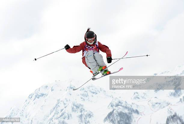 Canada's Yuki Tsubota competes in the Women's Freestyle Skiing Slopestyle qualification at the Rosa Khutor Extreme Park during the Sochi Winter...