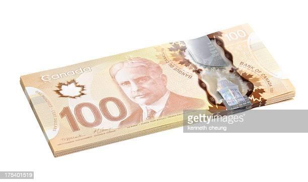 Canadian 100 Hundert-Dollar-Noten (Mit Clipping Path)