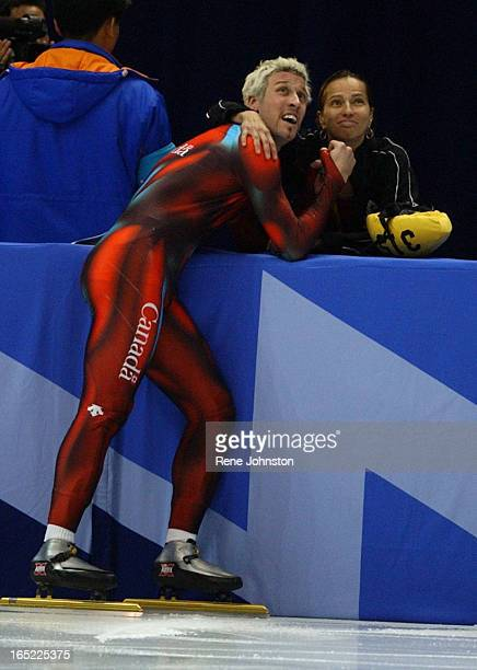 CITY Canadian 1500 meter short track speed skater Marc Gagnon shows celbrates bronze metal decision with girlfriend Sylvie Daigle at the moment the...